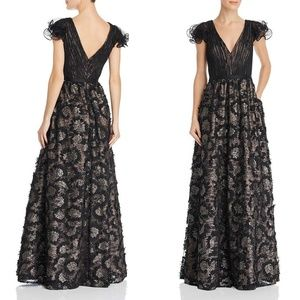 Aidan Mattox Lace Sequined Evening Gown Dress